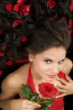 Beautiful girl with rose Royalty Free Stock Photos
