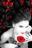 Beautiful girl with rose Stock Photos