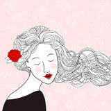 Beautiful girl with rose in hair and roses on  background Royalty Free Stock Photos