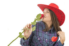 Beautiful girl with rose, heart and red hat. With lovely expresion Stock Photos