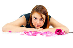 Beautiful girl with rose petals Stock Photos