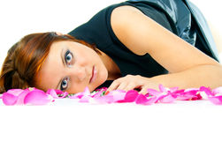 Beautiful girl in rose petals isolated Stock Images