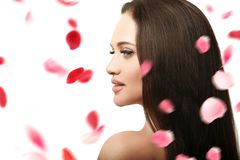 Beautiful girl with rose petals royalty free stock image