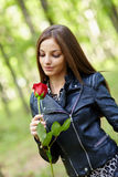 Beautiful girl with a rose Stock Photography