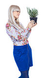 Beautiful girl with a rosemary plant. Beautiful blond girl holding fragrant potherb isolated on white background Royalty Free Stock Photo