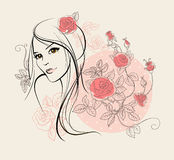 Beautiful girl with roses Stock Photography