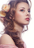 Beautiful girl with roses Royalty Free Stock Photo