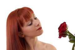 Beautiful girl with roses Royalty Free Stock Image