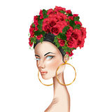 Beautiful girl roses on head looking at camera Stock Photography