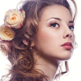 Beautiful girl with roses Royalty Free Stock Photos