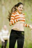 Beautiful girl running royalty free stock photography