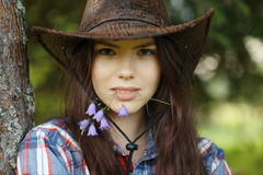 Beautiful girl in rustic style royalty free stock images