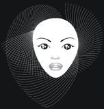 Beautiful girl's face. On a black background royalty free illustration