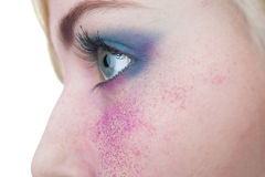 Beautiful Girl's Face Close-up. Professional make up Stock Photography
