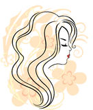 Beautiful girl's face on the flower background Royalty Free Stock Image