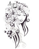A beautiful girl's face. Sketch of young beautiful woman with flowers and butterflies. A beautiful girl's face. Vector illustration royalty free illustration