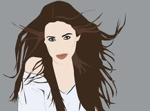 Beautiful girl`s with long hair moved by the wind portrait vector illustration