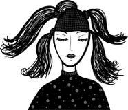 Beautiful girl's portrait. Beautiful girl's with long hair portrait. Fashion illustration Stock Photos