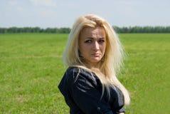 Beautiful girl sad, in nature Royalty Free Stock Photo