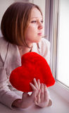 Beautiful girl is sad, sadness due the guy, keep heart Royalty Free Stock Images
