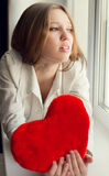 Beautiful girl is sad, sadness due the guy, keep heart Stock Photography