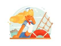 Beautiful girl sailor Royalty Free Stock Photo