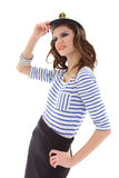 Beautiful girl in sailor clothes posing Royalty Free Stock Photography