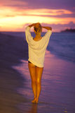 Beautiful girl on the sandy beach. Royalty Free Stock Photos