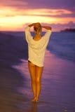 Beautiful girl on the sandy beach. Royalty Free Stock Photos