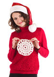 Beautiful girl in Santa Claus clothes Stock Photography