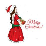 Beautiful girl in a Santa Claus dress and hat. Vector illustration for a postcard or a poster. New Year`s and Christmas. The Snow Maiden vector illustration