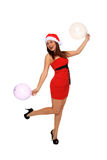 Beautiful girl with santa claus hat Stock Photo
