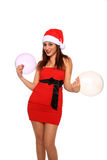 Beautiful girl with santa claus hat Stock Image