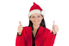 Beautiful girl with with Santa Claus hat accepting Stock Photos