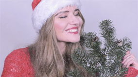 Beautiful girl in santa claus hat with tree branches enjoying falling snow. Beautiful sexy girl wearing santa claus clothes with a bunch of tree branches in the stock video