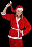 Beautiful girl in santa clause costume Stock Photos