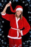 Beautiful girl in santa clause costume Royalty Free Stock Image