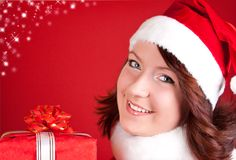 Beautiful girl in santa clothes Stock Photos