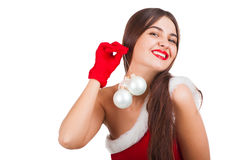 Beautiful girl in santa costume Stock Photography