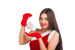 Beautiful girl in santa costume Royalty Free Stock Image
