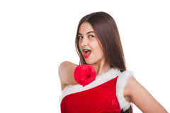 Beautiful girl in santa costume Stock Photos