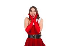 Beautiful girl in santa costume Stock Image