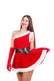 Beautiful girl in santa costume Royalty Free Stock Photos