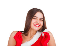 Beautiful girl in santa costume Royalty Free Stock Images