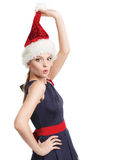 Beautiful girl with a santa hat Stock Photos