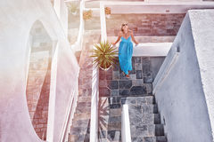 Beautiful girl on Santorini Royalty Free Stock Photos
