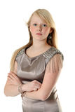 Beautiful girl in satin gown Royalty Free Stock Images