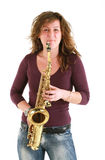 Beautiful girl with sax Stock Image