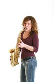 Beautiful girl with sax Stock Photo