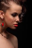 Beautiful girl with a scar on face and shoulder Royalty Free Stock Photos